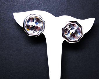 Swarovski Clear Rhinestone Earrings - Silver Tone Octagon Shaped Clip ons - Vintage 1980's 1990's Modern Signed S.A.L.