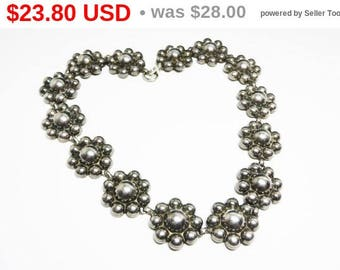 Spring Sale Silver Tone Flowerette Choker Necklace - Vintage Unsigned Beauty with SouthwesterConcho Style