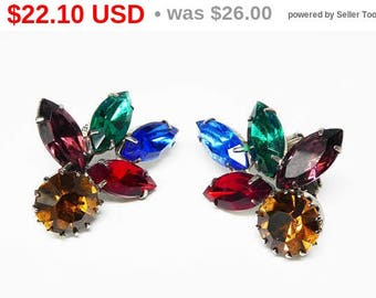 Spring Sale Rainbow of Rhinestones Earrings - Vintage Clip on with Multi Colored Rhinestones Green , Blue, Red, Gold & Purple - Mid Centu...