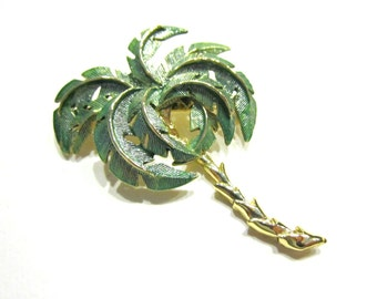 Vintage Enamel Palm Tree Brooch Green Palm Leaves Gold Pin Gift for Her Florida Bahamas Beach Jewelry Gift for Her Under 10