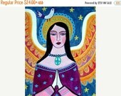 25% Off - Storewide - Primitive Angel Folk Art Moon and Stars Art Poster Print of painting by Heather Galler of Painting (HG778)