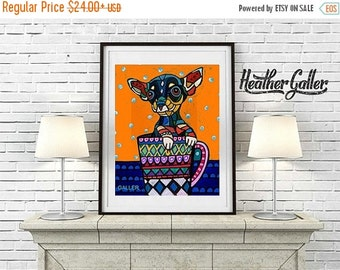 50% Off Today- CHIHUAHUA ART Poster Print of painting by Heather Galler Dog in Cup (HG299)