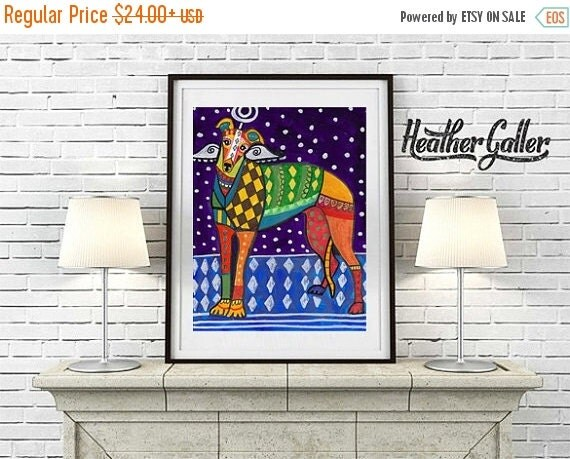 50% Off Today- Greyhound art dog  Art Print Poster by Heather Galler Colorful Greyhound Angel (HG497)