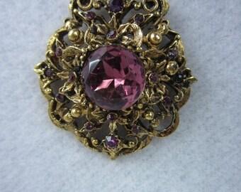 """On Sale Vintage Purple Necklace/ 1960s Drop Necklace/ 30"""""""
