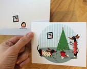 Daschunds Christmas Tree Dogs Christmas holiday cards blank inside 10 pack dog cards blank inside