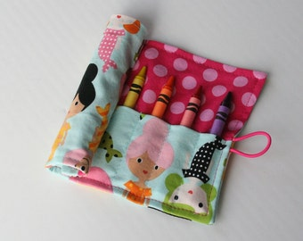 Crayon Caddy Roll Up - Mermaids (8 Crayons Included) - Ready to Ship!