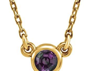 14K Gold Chatham Created Alexandrite Necklace, Bezel Set Alexandrite Pendant, Full Color Change Chatham Created Alexandrite, June Birthstone