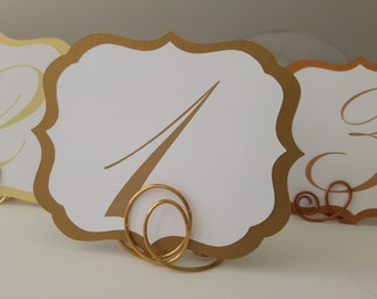 Wedding Table Numbers  Elegant Vintage Label Design Shimmery Card Stock Colors Available