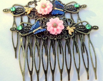 Pink Mums, Blue Glitering Butterflies & Honey Bees, Antiqued Brass Hair Combs, Hair Accessories,Flower Girl, Bridesmaid, Prom Hair, OOAK