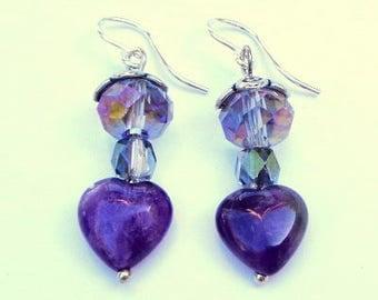 Large, Natural Amethyst, Swarovski Crystals, Sterling Silver Earrings, Purple Heart Earrings, Genuine Gemstones, OOAK