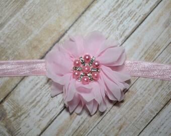 CLEARANCE/ Light Pink Chiffon Flower Headband/ Pink Baby Headband/ Girls Hair Accessories/ Baby Hair Accessories/ Sale Headband/ Light Pink