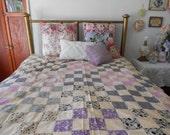 Vintage Handmade feedsack Quilt Top in purple tones with blue black and multi feedsack fabrics 1940s 50s