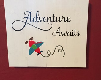 Adventure Awaits, Nursery sign, Baby sign, 14 x 12, painted sign