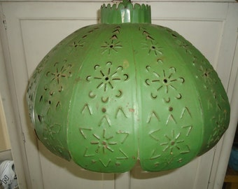 Beautiful Vintage Green Punched Tin Ceiling Shade/Lamp Shade