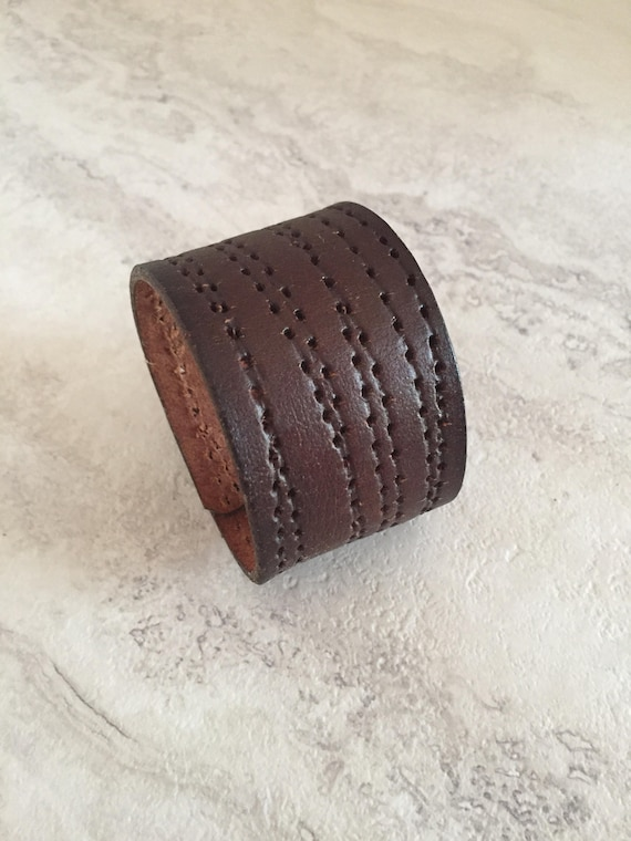 Women's Handmade Brown Leather Cuff (size 6.5 inches)