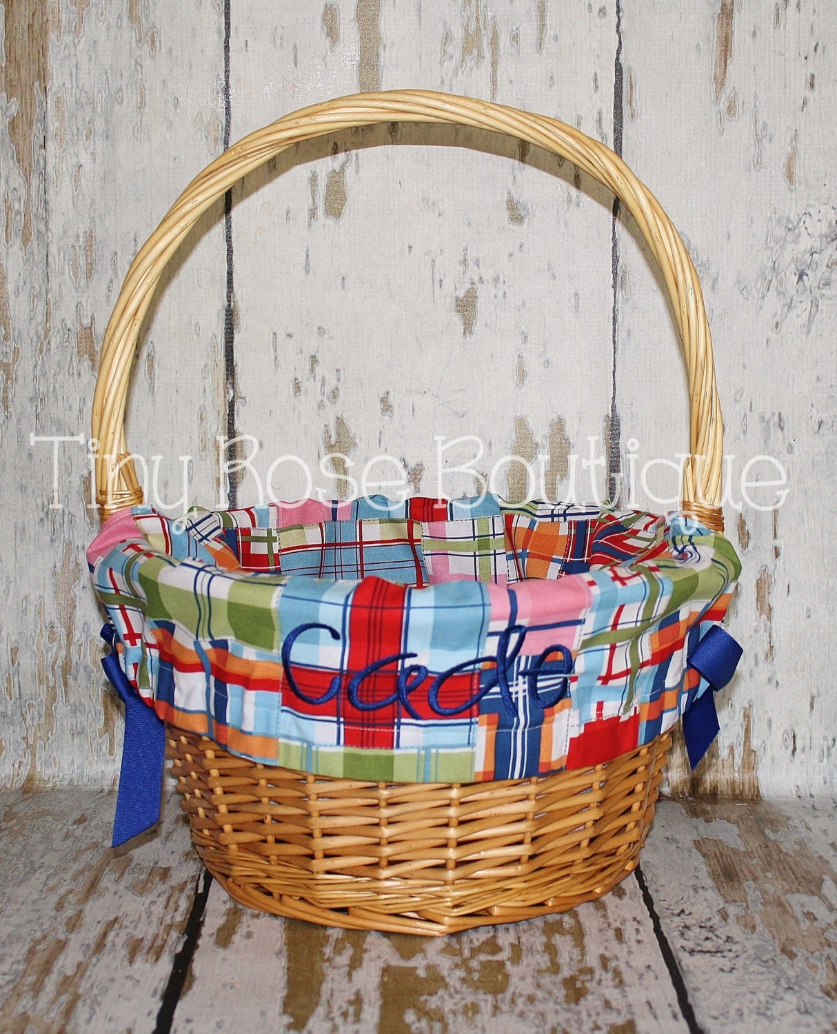 Personalized Easter Basket Liner Wicker By Tinyroseboutique