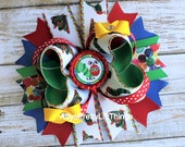 Hungry Caterpillar Inspired Bow Caterpillar Bow BottleCap Bows Colorful Polka Bows Boutique Bow Layered Bow Baby Girls Hair Accessories
