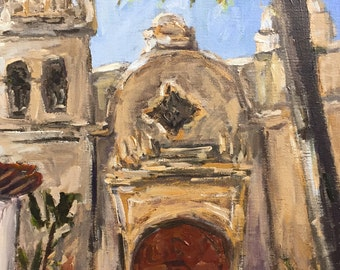 Carmel Mission Basilica original painting on canvas panel 14x10""