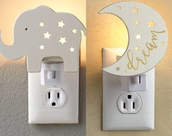 Night Light by MudPie® - Dream Moon or Elephant, Moon Night Light, Elephant Night Light, Nursery Night Light