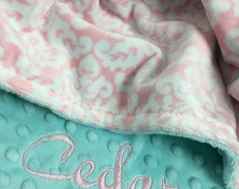 Pink White and Blue Damask Minky Baby Blanket Personalization Included over 35 fonts to choose fro