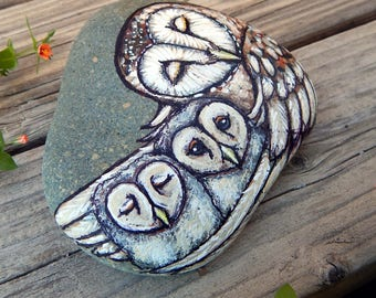 BARN OWL Twins Totem Hand Painted Stones OWLS Rock Art Animals Spirit Guide Artwork Stone Art Baby Shower Gifts Nature Paintings Tyto Alba
