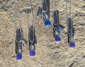 Pixie Dust Tiny Square Bottle Charm Necklace, Pixie Dust Necklace, Party Favor Necklace, Tiny Bottle Necklace, Child Jewelry
