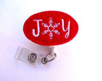 SALE Christmas badge reel - Retractable Badge Holder nurse badge reel - JOY red felt badge holder - medical badge reel holiday snowflake