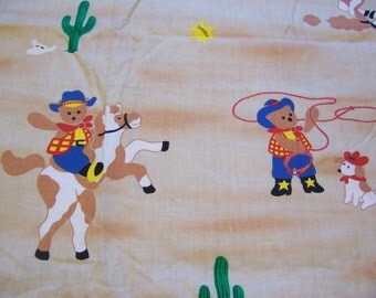 vintage juvenile  sheriff and bears fabric