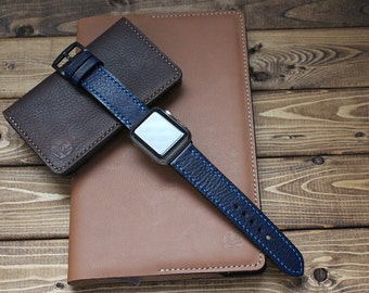 OXFORD BLUE Hand Stitched Apple Watch Leather Band Strap