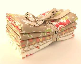 Tan Fig Tree Coney Island Fabric Short Stack Five Fat Quarter Bundle Moda Fig Tree Fabric Tan & Cream Fig Tree Quilt Fabric