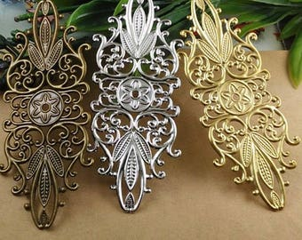 Wholesale 50 Brass Filigree Floral Component 35x87mm Raw Brass/ Antique Bronze/ Silver/ Gold/ Rose Gold/ White Gold/ Gun-Metal Plated- Z7513