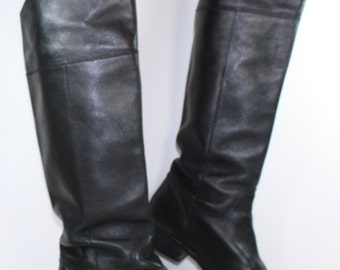 Vintage riding low heel women black tall knee high Leather fashion campus coach boots 8 M B