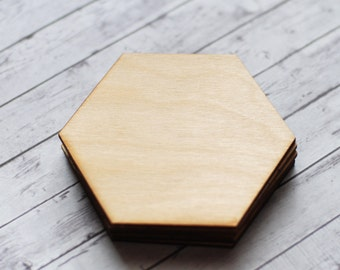 Wooden coasters, Blank wood coasters, Hexagon coasters, Geometric wood coasters, DIY coasters, Wooden supplies, Handmade coasters, Set of 5