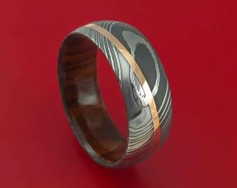 Damascus Steel Diagonal 14K Rose Gold Ring with Hardwood Sleeve Wedding Band Custom Made