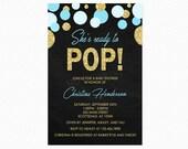 She's Ready to Pop Baby Shower Invitation, Blue, Gold Glitter, Polka Dots, Boy, Personalized, Printable Invitation