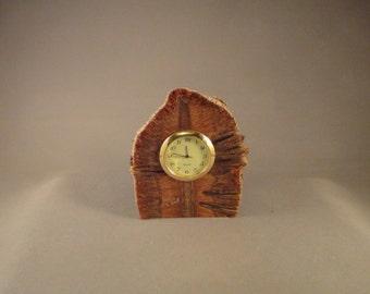 """Desk Clock - 1 7/16 """" Mini Quartz Movement - Banksia Wood"""