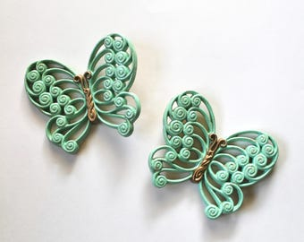 Vintage 1960's Set of Two Mint Green and Gold Sparkly Plastic Butterfly Wall Hanging/Plaque