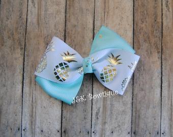 Pineapple Twisted bow, gold, aqua