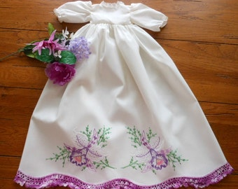 Vintage Doll Dress Vintage Pillowcase Doll Dress Hand Embroidered Pillowcase Doll Dress