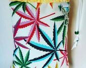 XL, Mini Rig, Bubbler, Pipe Bag, Marijuana Leaf, Cannabis, Rainbows, Graphic Print, Protect Your Glass,Glass Pipe Protection, Glass Pipe Bag