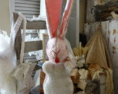 Vintage Shabby Cottage Chic Pink Easter Bunny Rabbit and Box