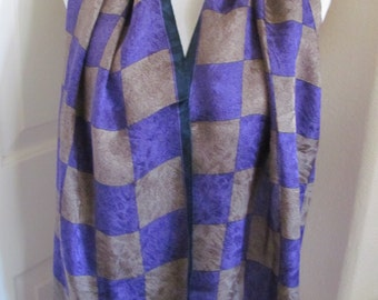 "Ellen Tracy Scarf // Beautiful Purple Brown Soft Silk Scarf // 16"" x 60"" Long"
