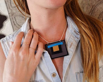 SALE: Modern Deep Plum and Turquoise Geometric  x Polyurethane and Leather Southwestern Necklace