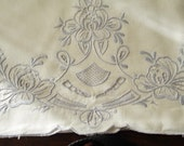 Pair Pillowcases Vintage Embroidery Cutwork Blue On White Cotton Madeira Style