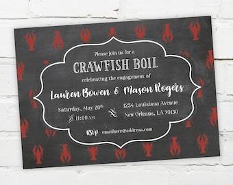 Printable Digital File - Crawfish Boil Invitation - Customizable - Chalk, Chalkboard, Engagement Party, Birthday, Shower, Crayfish, Seafood