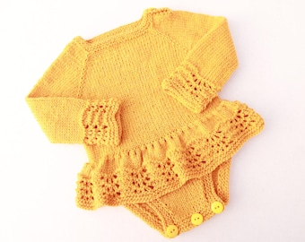 Hand Knit Baby Onesie Dress. Mustard Onesie Dress. Lace Baby Girl Onesie. Baby Girl Knit Dress. Seamless Baby Girl Dress.