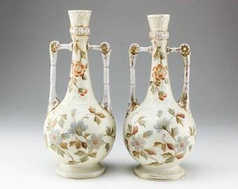 Antique Hand Painted  Porcelain Vase Mantel Vase RW Rudolstadt Porcelain Vase