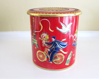 Vintage Red and Gold Tin with French,Italian, Spanish, Netherland Scenes