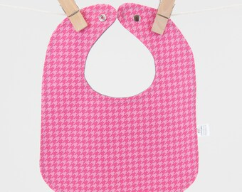 Pink Houndstooth Baby Bib, Baby Snap Bib, Cotton Snap Bib, Girl Baby Gift, Punk Baby Gift, Baby Gift under 15, Girly Baby Gift