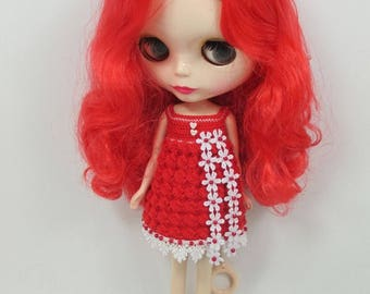 Handcrafted crochet knitting dress outfit clothes for Blythe doll # 200-1